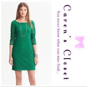 Banana Republic Green Lace Shift Sheath  Dress